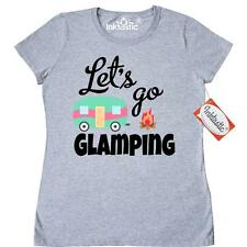 Inktastic Lets Go Glamping With Camper Vector Women's T-Shirt Camping Cabin Tees