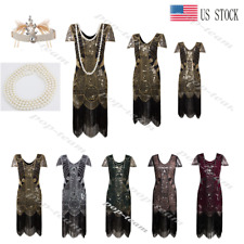 Retro Flapper Beaded Gatsby Wedding Party Evening Formal Prom Club Sequin Dress