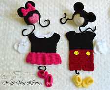 Handmade Mickey & Minnie Mouse Inspired baby boy/girl crochet Outfit/Costumes