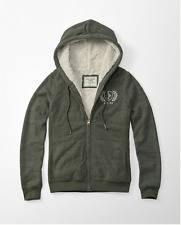 WOMENS SIZE SMALL ABERCROMBIE & FITCH SHERPA FUR LINED LOGO ZIP UP HOODIE NWT