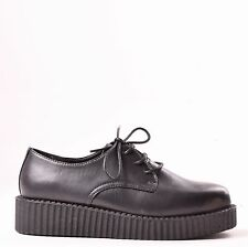 LADIES WOMENS FLAT PLATFORM WEDGE LACE UP GOTH PUNK CREEPERS SHOES BOOTS SIZE