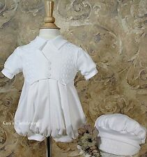Baby Boys White Christening Suit Baptism Outfit Cotton HANDMADE 0-12M WF235R