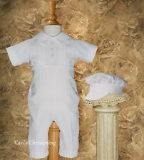 Baby Boys White Christening Suit Baptism Outfit Coverall HANDMADE 0-12M WP11