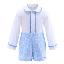 Toddler Boys Long Sleeve Shirt + Blue Shorts Set Kids Clothes Party Suit Outfit
