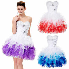 Strapless Organza Beaded Ball Cocktail Evening Prom Party Swing Grad Show Dress