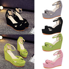 Women Suede High Heel Platform Wedge Casual Ankle Strap Sandals Shoes Size 4-7