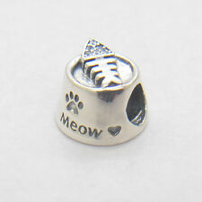 Authentic Genuine S925 Sterling Silver Bowl Meow Fish Bone Charm