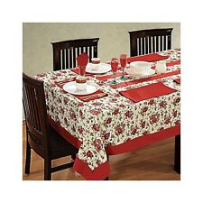 Red Rectangular Tablecloth Tableware Indian Table Cover Floral Printed Runner