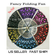 Chinese Folding Fan/ Embroidered & Sequined Hand Fan *USA SELLER, SHIP FAST*