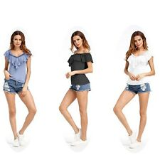 Summer Women Ruffles Vneck Modal Loose T-Shirt Lady Casual Tops Butterfly Blouse