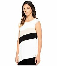 Calvin Klein Womens Sleeveless Angle Bottom Top W/ Stripe - Choose SZ/Color