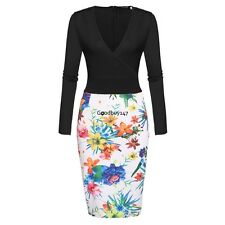 Women Long Sleeve V-neck Pencil Dress Print Package Hip Party Slim Knee GDY701