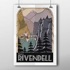 Rivendell Retro Travel Poster Print. Lord of the Rings Wall Art Decor.
