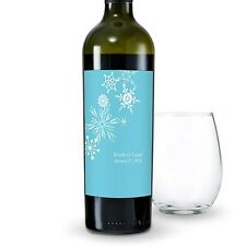 Winter Finery Snowflake Personalized Wedding Wine Bottle Labels Stickers Q17123