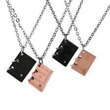 Stainless Steel Book Pendant Mens Women Couples Lover Necklace Jewelry Gift