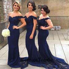 Navy Mermaid Prom Dresses Evening Long Pageant Formal Bridesmaid Party Ball Gown