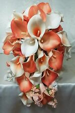 Coral Ivory Calla Lily Cascading Bridal Wedding Bouquet & Boutonniere