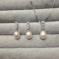 Wedding Necklace Shell / Genuine Cultured Freshwater Pearl Necklace Earring set