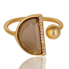 14K Gold Plated Adjustable Design CZ Gemstone Ring Handmade Fashion Jewelry