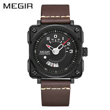 MEGIR Sport Men Quartz Watch Square Dial Leather Strap Military Wristwatch
