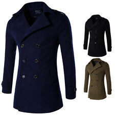 New  Mens Double breasted Slim Stylish Trench Coat Double Breasted Long Jacket