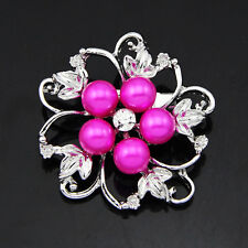Chic Rhinestone Crystal Wedding Bridal Bouquet Flower Pearl Brooch Accessories
