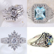 925 Silver Ring Vtg White Topaz Aquamarine Jewelry Wedding Engagement Size 6-10