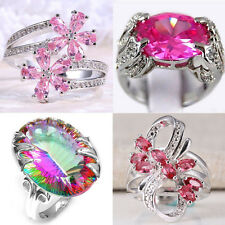 925 Silver Ring Cocktail Pink Sapphire Women Jewelry Wedding Engagement Size6-10