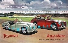 Triumph TR2 and Aston Martin DB2-4 Sports Racing Vintage Poster Print Car Races