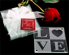 48 LOVE Glass Coasters Gift Sets Wedding Bridal Shower Party Favors Lot Q31819