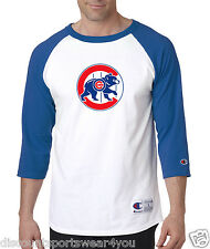 Chicago Cubs Throwback Logo Champion Baseball Raglan Shirt Jersey Tee White Blue
