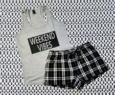 Weekend Vibes Pajama Set - Womens Pajamas - Flannel Shorts - PJ Set - Lounge Set