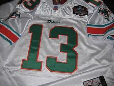 BRAND NEW! Miami Dolphins #13 Dan Marino Throwback HOF Patch stitched Jersey WHT
