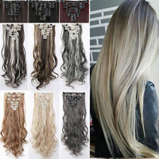 Full Head 8Pcs/Set Real Thick Clip In Hair Extensions Long 18Clips Wedding ncw89