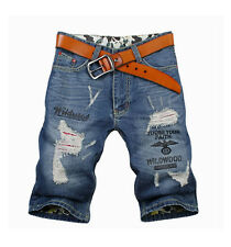 2017 Fashion Mens Jeans Denim Shorts Patched Ripped Distressed Destroyed Washed
