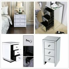 Mirrored Furniture Glass Bedside Cabinet Table W/ 3 Drawer Bedroom Side Decor NR