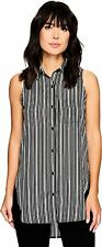 Calvin Klein Womens Print Hi Lo Sleeveless Top Stripe Black Tank