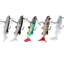 5Pcs Soft Fishing Lures Crankbaits Vivid Lead Swim Baits with Treble Hooks