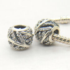Genuine Authentic S925 Sterling Silver Feather Pave Ball Charm