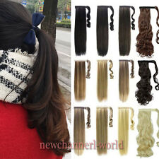 "New 17-26""Long Clip In Ponytail Pony Tail Hair Extension Wrap On Hair Piece Real"