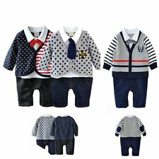 Baby Boy Wedding Christening Tuxedo Party Smart Romper Clothes Outfit Suit 3-24M