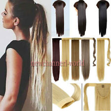 US Thick Clip In Human Hair Extension Pony tail Wrap On Ponytail Long Synthetic