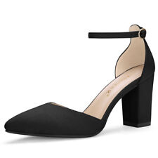 Women Point Toe Chunky High Heel Ankle Strap Pumps