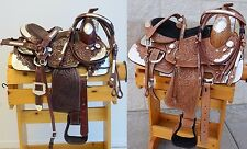 """NEW 10"""" Youth Pony Tooled Leather Western Show Saddle Set with Silver Trim"""