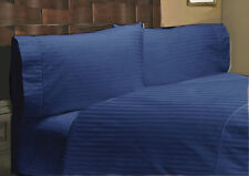 1000TC/1200TC 100%EGYPTIAN COTTON US SIZES ALL BEDDING ITEMS NAVY BLUE STRIPED