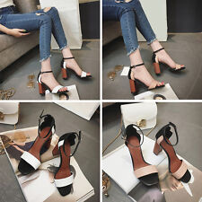 Women Lady Peep Toe Ankle Strap Buckle Chunky Block Heels Sandals Shoes Size 4-7