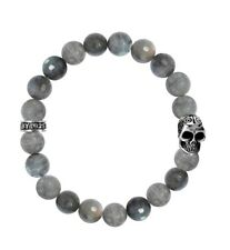 King Baby Labradorite Bead Bracelet w/Day of the Dead Skull K40-5284