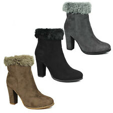 WOMENS LADIES HIGH HEEL FUR LINED COLLAR CHELSEA ANKLE BOOTS SHOES SIZE 3-8