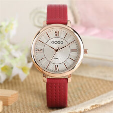 XICOO Black/Red/White Genuine Leather Band Women Girl Quartz Wrist Watch Gift