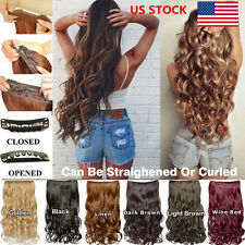 US 6 Colors Women Ladies 5 Clips In/On Full Head Long Curly Wavy Hair Extensions